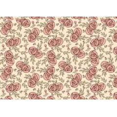 Tecido Tricoline Digital Mini Flores Romance  - Fundo Creme - Coleção Romance