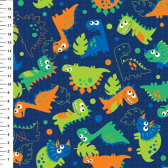 Tecido Tricoline Digital Dinossauro - Fundo Azul - Preço de 50cm x 150cm