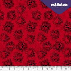 Tecido Tricoline Digital  Caveira Red