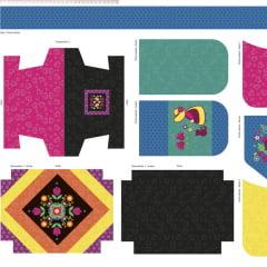 Tecido Digital Painel Necessaire e Bolsinhas Azul - Coleção Baltimore: Por Tais Favero - Preço de 55 cm x 150 cm