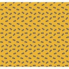 Tecido Tricoline Mini Abelha - Fundo Mostarda - Coleção Bee Buzz - Preço de 50 cm x 150 cm