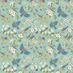 Tecido Tricoline Blue Birds - Fundo Verde - Coleção Colors