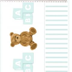 Tecido Tricoline Barrado de Urso Azul Claro - Coleção Teddy Bear - Preço de 50 cm x 150 cm