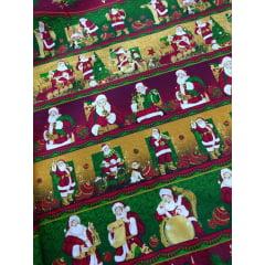 Tecido Tricoline Barrados de Natal: Super Noel - Preço de 50 cm X 150 cm