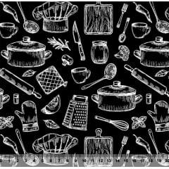 Tecido Tricoline Cozinha Estilo Giz - Fundo Branco - Preço de 50 cm x 150 cm