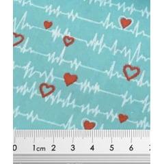Tecido Tricoline Batimentos Cardíacos - Fundo Tiffany - Coleção Medicina