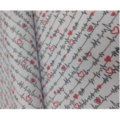 Tecido Tricoline Batimentos Cardíacos - Fundo Branco - Coleção Medicina - Preço de 50 cm x 150 cm