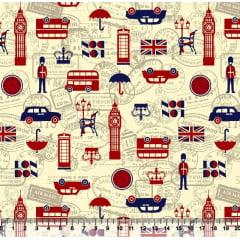 Tecido Tricoline Londres - Fundo Bege - Preço de 50cm x 150cm