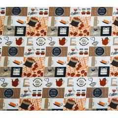Tecido Tricoline Café em Quadros Laranja - Fundo Creme - Preço de 50cm x 150cm