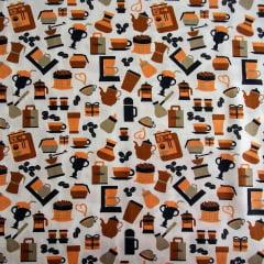 Tecido Tricoline Cafeteria Laranja  - Fundo Creme - Preço de 50cm x 150cm