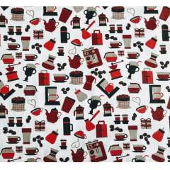 Tecido Tricoline Cafeteria Vermelha  - Fundo Branco - Preço de 50cm x 150cm