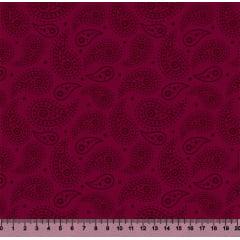 Tecido Tricoline Cashmere - Fundo Vinho - Preço de 50 cm x 150 cm