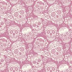 Tecido Tricoline Caveiras Mexicanas Rosa - Preço de 50cm x 150cm