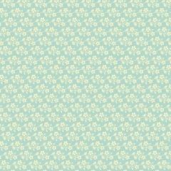Tecido Tricoline Cherry Blossom Blue - Preço de 50  cm x 150 cm