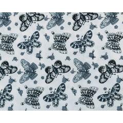 Tecido Tricoline Borboletas Pretas - Fundo Gelo - Preço de 50cm x 150cm