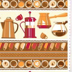 Tecido Tricoline Barrados de Utensílios de Café - Coleção Cafeteria - Preço de 50 cm x 150 cm