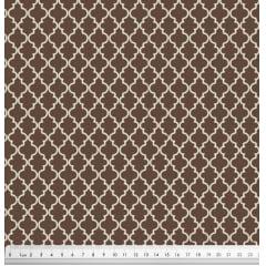 Tecido Tricoline Delicato Treliça Bege - Fundo Marrom - Preço de 50cm x 150cm