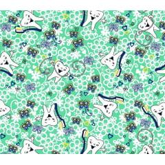 Tecido Tricoline Dentinhos e Borboletas - Fundo Verde - Preço de 50 cm x 150 cm