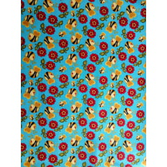 Tecido Tricoline Digital Abelhas e Flores - Fundo  Azul Turquesa - Preço de 50 cm x 150 cm
