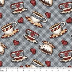 Tecido Tricoline Digital Mini Xícaras - Coleção Hora do Café