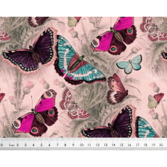 Tecido Tricoline Digital Borboleta Vintage  - Fundo Rosa - Preço de 50cm x 150cm