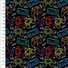 Tecido Tricoline Digital - Joy Stick e Vídeo Game Neon - Fundo Preto - 40 cm