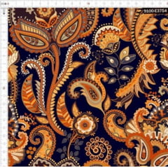 Tecido Tricoline Digital Cashmere Dourado Chara