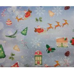 Tecido Tricoline Digital  Trenó Papai Noel - Fundo Azul Claro - Coleção Natal - Preço de 50cm x 150cm
