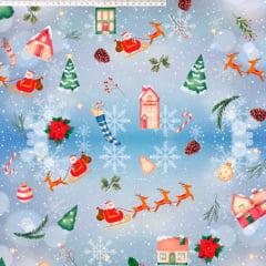 Tecido Tricoline Digital  Trenó Papai Noel - Fundo Azul Claro - Coleção Natal