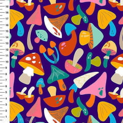 Tecido Tricoline Digital Cogumelos Coloridos Meia Tigela - Fundo Roxo