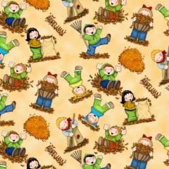 Tecido Tricoline Digital Crianças Felizes - Preço de 50 cm x 150 cm