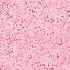 Tecido Tricoline Digital Love Is In The Air - Fundo Rosa - Preço de 45 cm x 140 cm
