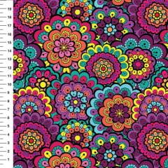 Tecido Tricoline Digital Mandala Floral Aegria - Preço de 50cm x150cm