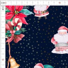 Tecido Tricoline Digital Faixa de Natal - Fundo Azul Marinho - Coleção Natal - Preço de 55cm x 150cm