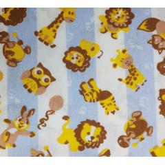 Tecido Tricoline Bichinhos: Coruja, Leão, Girafa, Tartaruga, Raposa e Guaxinim - Fundo Azul Marinho - Preço de 50 cm X 150 cm