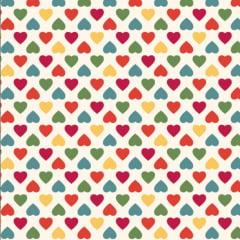 Tecido Tricoline  Estampa Corações Coloridos - Fundo Creme - Coleção Amor Amour Amore Love