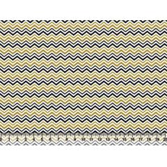 Tecido Tricoline Chevron Pequeno - Preto e Dourado - Preço de 50 cm x 150 cm