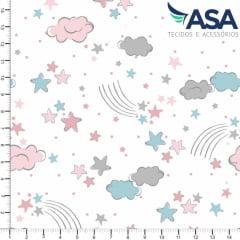 Tecido Tricoline Estrelas e Nuvens Rosa e Azul - Fundo Branco - Coleção Sonhos