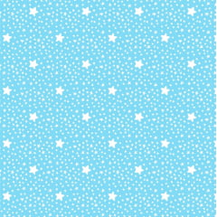 Tecido Tricoline Estrelinhas Azul Campestre