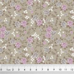 Tecido Tricoline Floral - Fundo Areia - Coleção Rosinhas - Preço de 50 cm x 150 cm