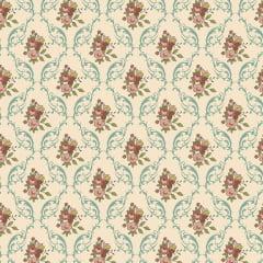 Tecido Tricoline Floral Damask Tiffany - Coleção Aroma - Preço de 50 cm x 150 cm