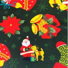 Tecido Tricoline Big Festa de Natal - Fundo Verde Escuro