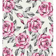Tecido Tricoline Floral Rosas Grandes - Rosa