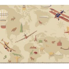 Tecido Tricoline Mapas, Balões e Animais - Fundo Bege - Coleção Mapa Mundi