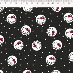 Tecido Tricoline Hello Kitty - Fundo Preto - Preço de 50cm x 150cm