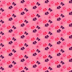 Tecido Tricoline Flores de Cerejeiras - Fundo Rosa - Coleção Oriental