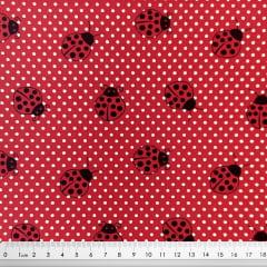 Tecido Tricoline Joaninha - Fundo Vermelho- Preço de 50 cm x 150 cm