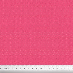 Tecido Tricoline Micro Poá Branco - Fundo Cereja - Preço de 50 cm x 150 cm