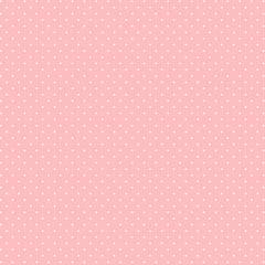 Tecido Tricoline Micro Poá Branco - Fundo Rosa Bebê - Coleção Miss Daisy