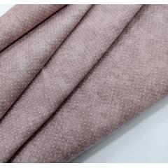 Tecido Tricoline Micro Poá Branco com Poeira - Fundo Lilás Antigo - Preço de 50 cm X 150 cm